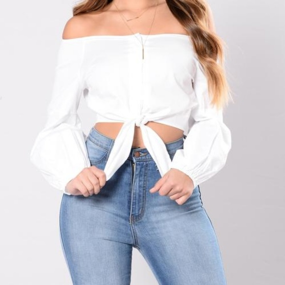 bc8243f02fd88a Off shoulder button down white mid crop top